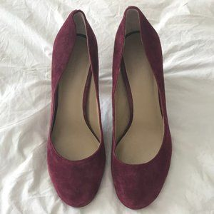 Ann Taylor Stacked Suede Heels - 7.5